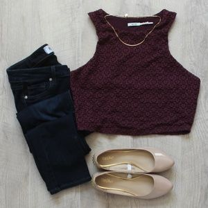 Kimchi Blue Urban Outfitters Burgundy Lace Crop L